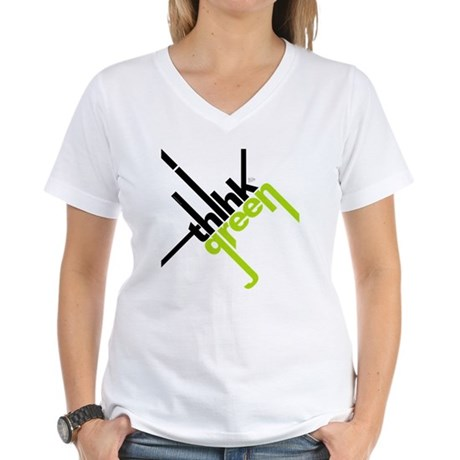 Think Green Typography Women's V-Neck T-Shirt