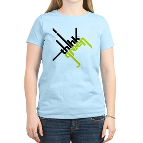 Think Green Typography Women's Light T-Shirt