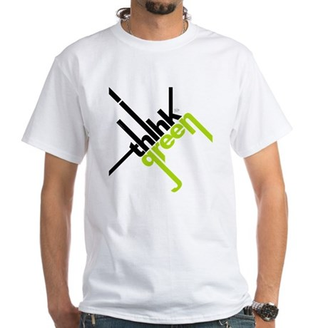 Think Green Typography White T-Shirt