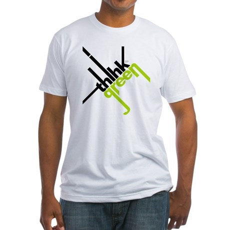 Think Green Typography Fitted T-Shirt