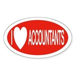 I Love Accountants Oval Sticker