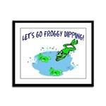 Froggy Dipping Framed Panel Print
