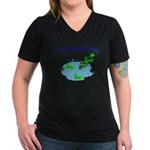 Froggy Dipping Women's V-Neck Dark T-Shirt