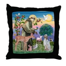 St Francis / English Setter Throw Pillow
