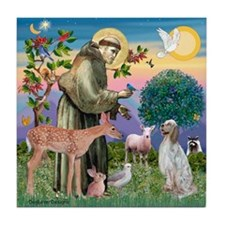 St Francis / English Setter Tile Coaster