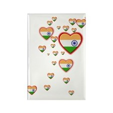 Hearts (Flag - India) - Rectangle Magnet