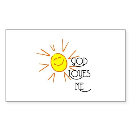 God Loves Me Rectangle Sticker