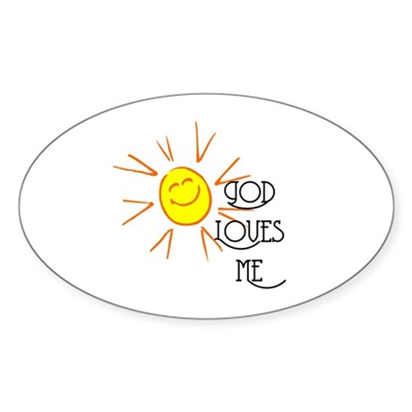 God Loves Me Oval Sticker (50 pk)