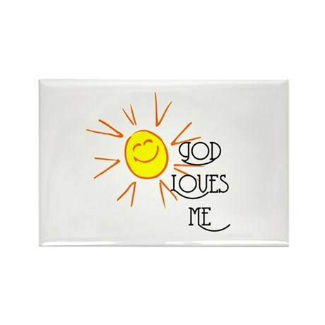 God Loves Me Rectangle Magnet