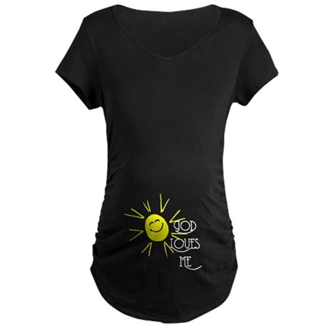 God Loves Me Maternity Dark T-Shirt