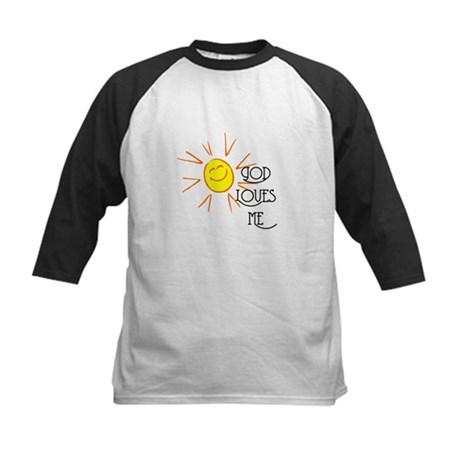 God Loves Me Kids Baseball Jersey