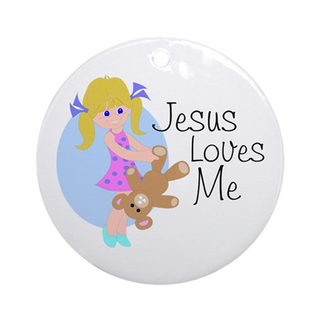 Jesus Loves Me Ornament (Round)