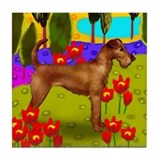 IRISH TERRIER DOG LAKE Tile Coaster
