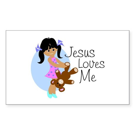 Jesus Loves Me Rectangle Sticker