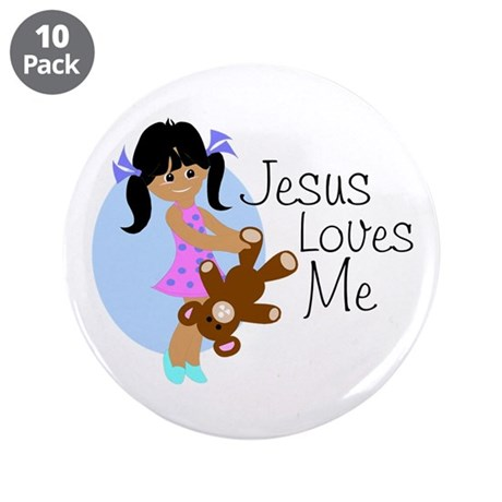 "Jesus Loves Me 3.5"" Button (10 pack)"