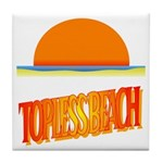 Topless Beach Tile Coaster