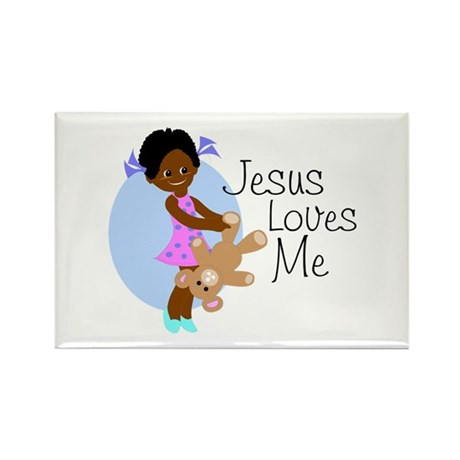 Jesus Loves Me Rectangle Magnet