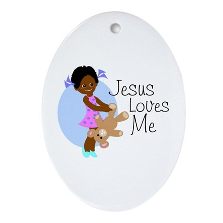 Jesus Loves Me Oval Ornament