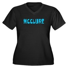 McClure Faded (Blue) Women's Plus Size V-Neck Dark