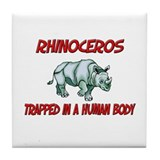 Rhinoceros trapped in a human body Tile Coaster