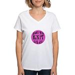 Moms Who Knit Kick Ass Women's V-Neck T-Shirt
