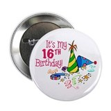 It's My 16th Birthday (Party Hats) 2.25&quot; Button