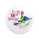 "It's My 16th Birthday (Party Hats) 3.5"" Button"
