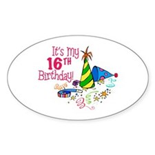 It's My 16th Birthday (Party Hats) Oval Decal