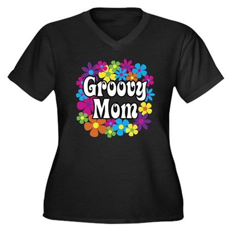 Groovy Mom Women's Plus Size V-Neck Dark T-Shirt