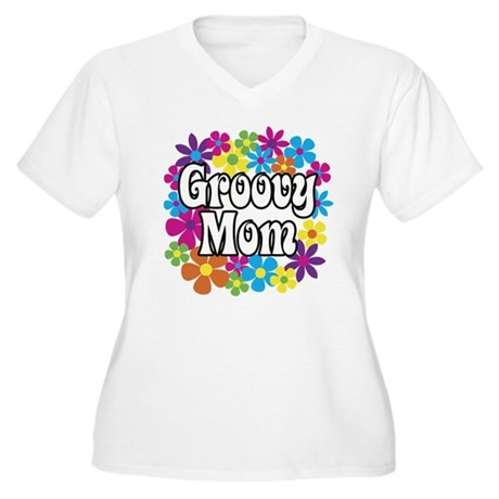 Groovy Mom Women's Plus Size V-Neck T-Shirt