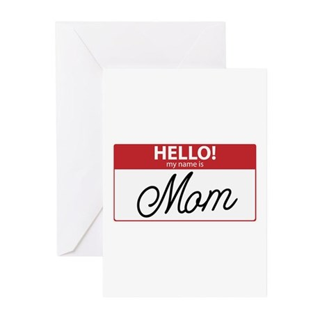 Hello My Name is Mom Tag Greeting Cards (Pk of 10)