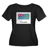 Tuvalu Flag Women's Plus Size Scoop Neck Dark T-Sh