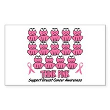 Pink Frogs 3 Rectangle Decal