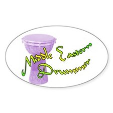 Funky Middle Eastern Drummer Oval Stickers