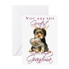 Yorkie I Love Grandma Greeting Card