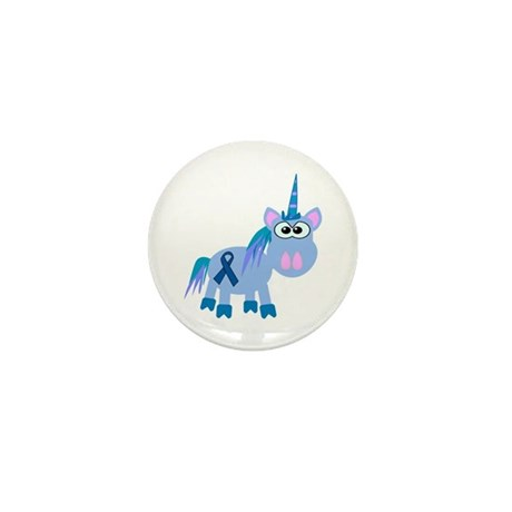 Blue Awareness Ribbon Goofkins Unicorn Mini Button
