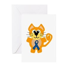 Blue Awareness Ribbon Goofkins Kitty Cat Greeting