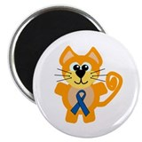 "Blue Awareness Ribbon Goofkins Kitty Cat 2.25"" Mag"