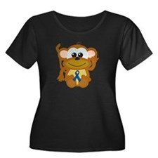 Blue Awareness Ribbon Goofkins Monkey T