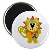 Blue Awareness Ribbon Goofkins Lion Magnet