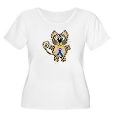 Blue Awareness Ribbon Goofkins Leopard T-Shirt