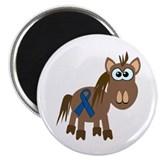 "Blue Awareness Ribbon Goofkins Horse 2.25"" Magnet"