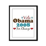 Vote Obama 2008 For Change Framed Panel Print