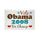 Vote Obama 2008 For Change Rectangle Magnet