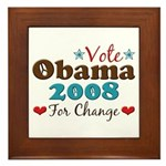 Vote Obama 2008 For Change Framed Tile
