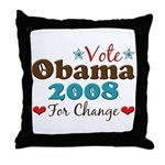 Vote Obama 2008 For Change Throw Pillow