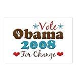 Vote Obama 2008 For Change Postcards (Package of 8