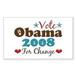 Vote Obama 2008 For Change Rectangle Sticker 50 p