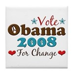 Vote Obama 2008 For Change Tile Coaster