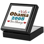 Vote Obama 2008 For Change Keepsake Box